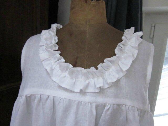 Robe Brune en lin blanc - rallongée de 15 cm - taille 58 (4)