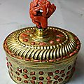 A gilded brass and retro incassocoral inkwell, sicily, trapani, 1700 ca