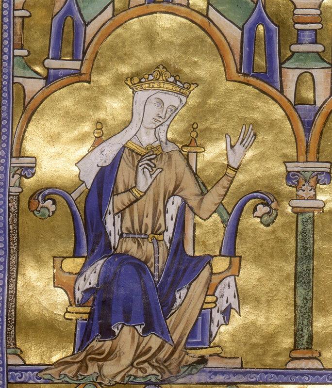 Blanche de Castille, détail d'une miniature de la Bible moralisée de Tolède, 1240