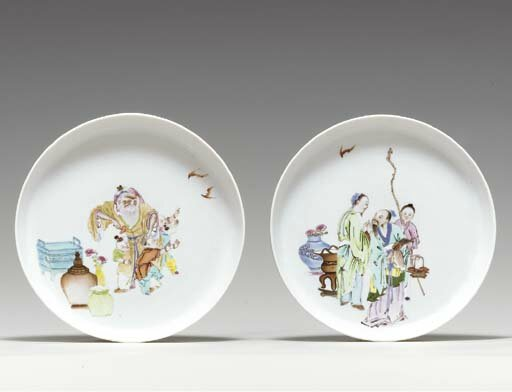 A pair of famille rose, shallow dishes, Yongzheng period (1723-1735)