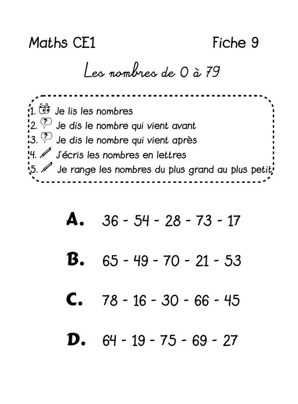 maths CE1 fiche 9