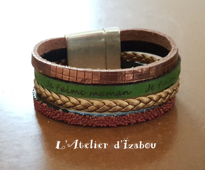20180415_090736 Bracelet je t'aime maman, multirangs manchette cuir marron vert