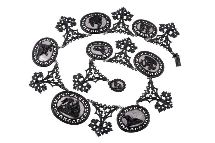 A Berlin iron work and polished steel cameo necklace, circa 1830