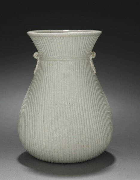Basket Shaped Vase, Ding Ware, 17th Century, China, Ming dynasty (1368-1644), glazed porcelain, Diameter - w:13.50 cm (w:5 5/16 inches) Overall - h:17.80 cm (h:7 inches). Bequest of Mrs. Severance A. Millikin 1989.300, Cleveland Museum of Art © 2013 Cleve