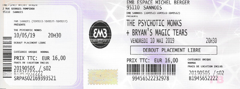 2019 05 10 The Psychotic Monks EMB Sannois Billet