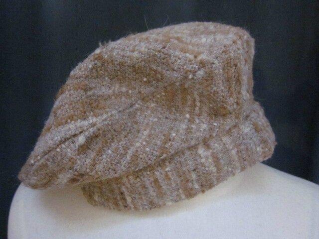 Bérêt SIMONE en lainage chiné beige - Doublure de coton noire - taille 56 (2)