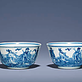 Two small blue and white 'Immortals' cups, Yongzheng six-character marks within double circles and of the period (1726-1735)