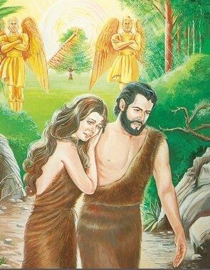 Adam et Ève-Chassés avec une simple peau de bête