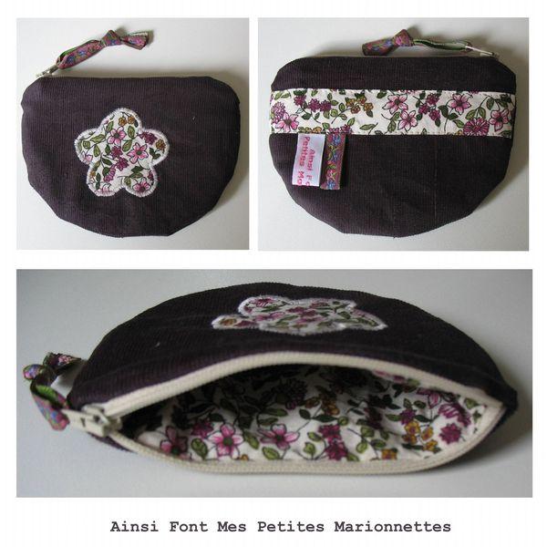 porte monnaie violet fleur