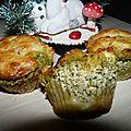Muffins au jambon , feta et pesto