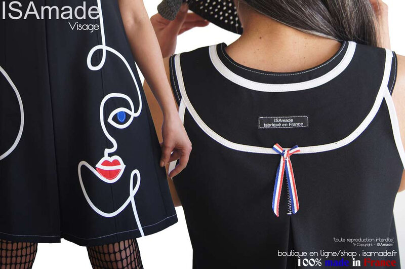 MOD639B-robe-trapeze-noire-blanche-visage-made-in-France-isamade-graphique