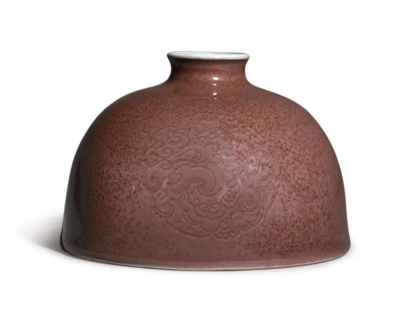 A peachbloom-glazed 'beehive' waterpot, Kangxi mark and period (1662-1722)