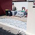 Création seuil portail, pavage d'une cour, pose portail et motorisation