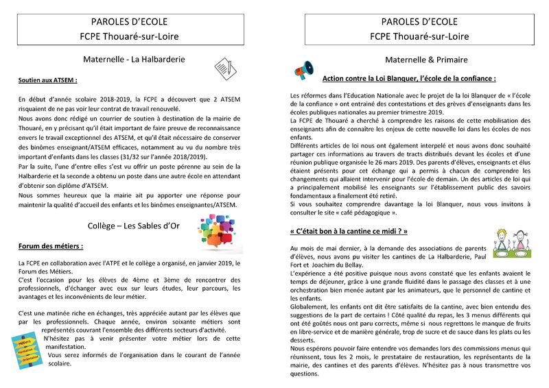 Paroles d'école sept 2019-2