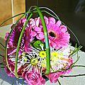 composition florale fleurs roses