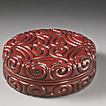 A finely carved 'tixi' lacquer box and cover, ming dynasty (1368-1644)