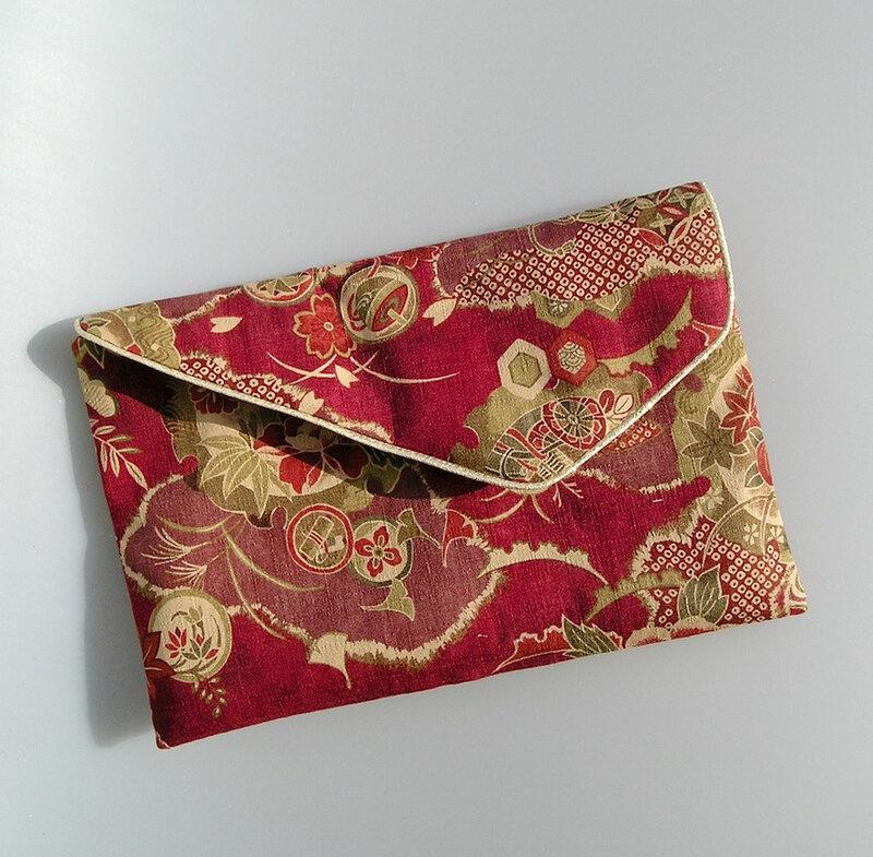 Pochette soirée tissus japonais rouge 1