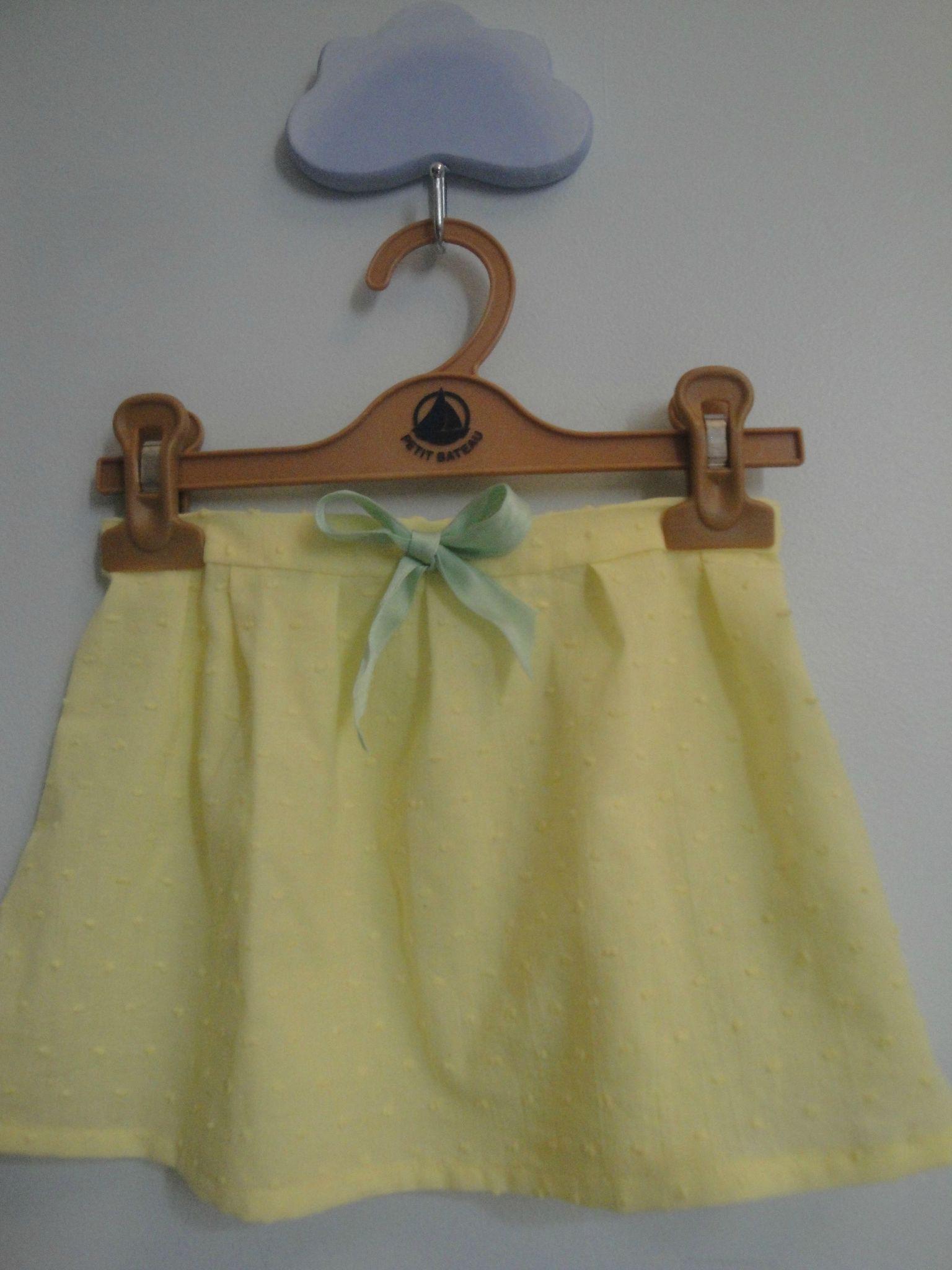 Jupe plumétis jaune pastel (15)