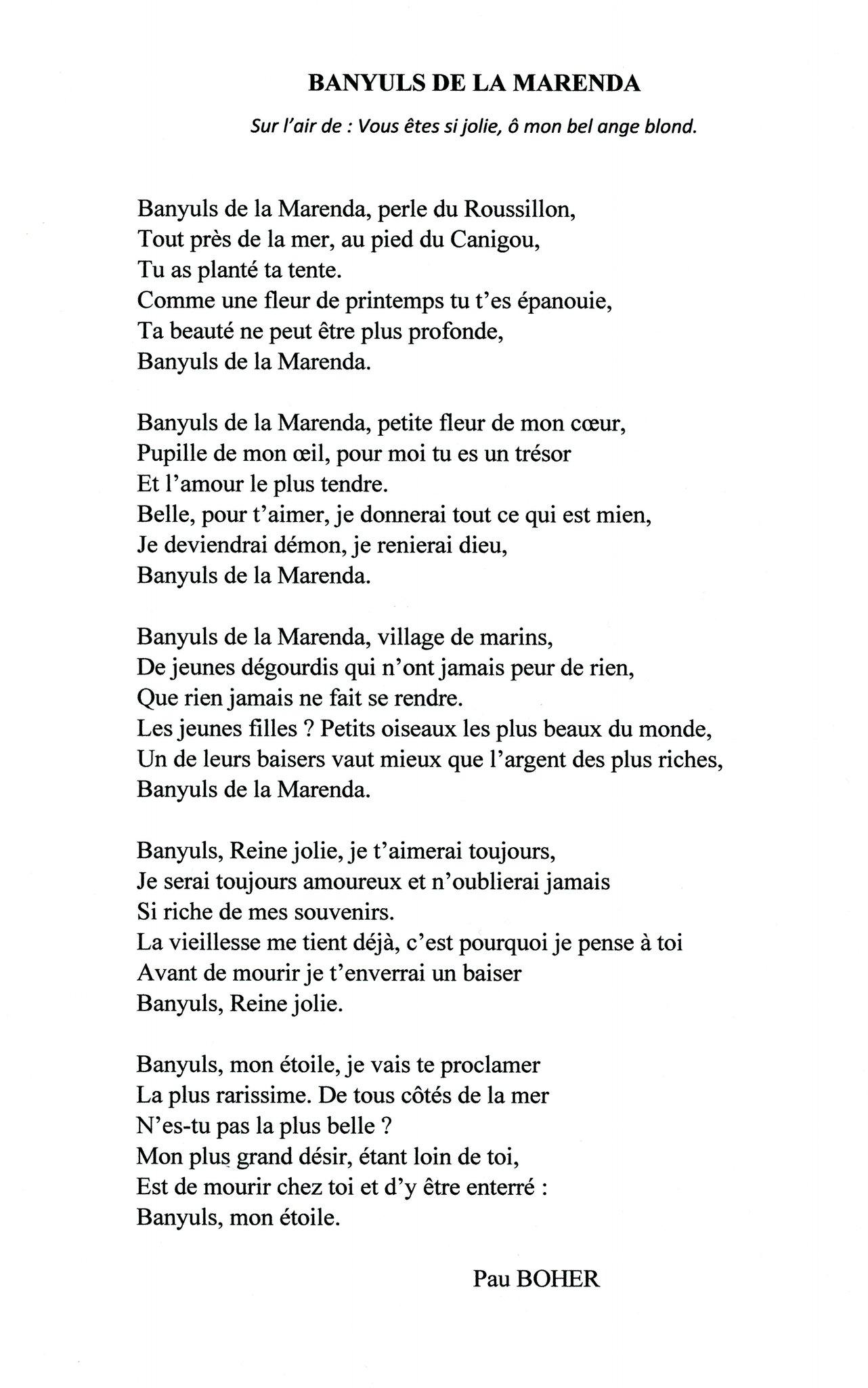 Traduction Du Poème Banyuls De La Marenda Par Albert