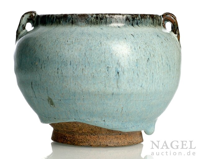 A Junyao jar with two handles, China, Yuan-early Ming dynasty