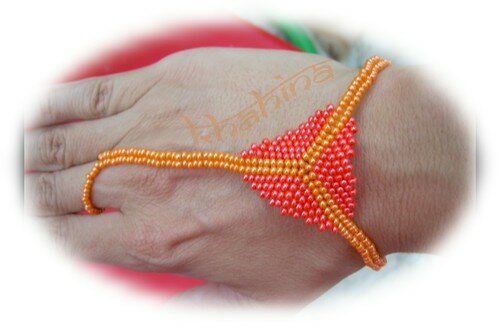 Bracelet-bague triangle oranges