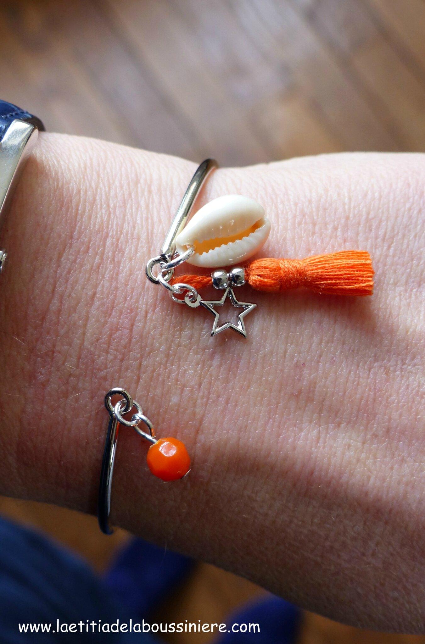 Bracelet Agatha (orange et argenté) - 15 €
