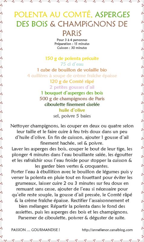 Polenta au Comté, asperges des bois & champignons de Paris_fiche