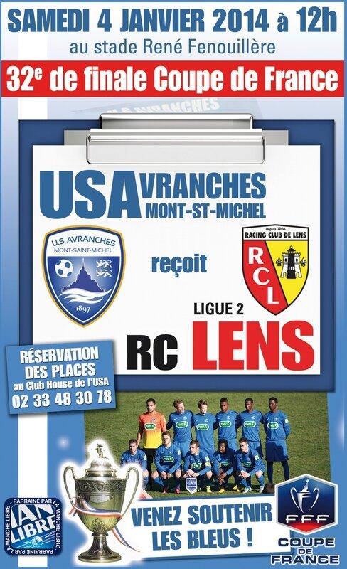 32e finale coupe de france football 2014 Avranches Lens foot