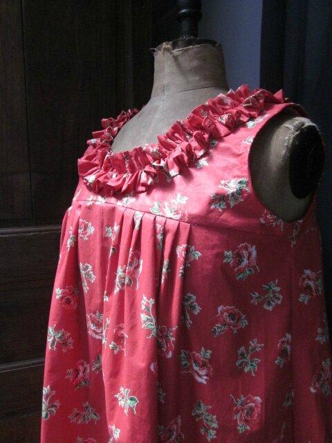 Robe BRUNE en coton rouge imprimé coquelicots (7)