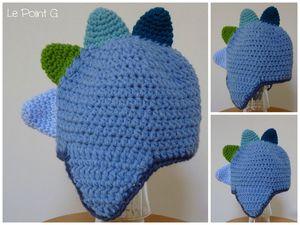 Bonnet Dinosaure enfant bébé crochet accessoire cadeau naissance