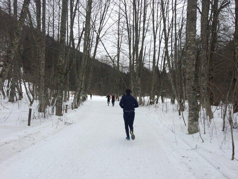 On s'insère sur les pistes de ski de fond