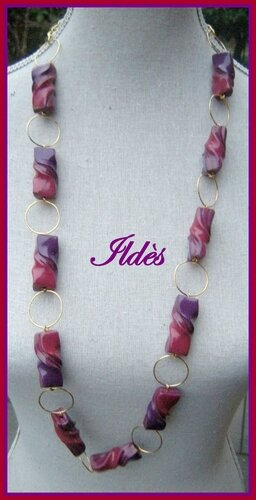 fimo collier farfales violet rouge 2