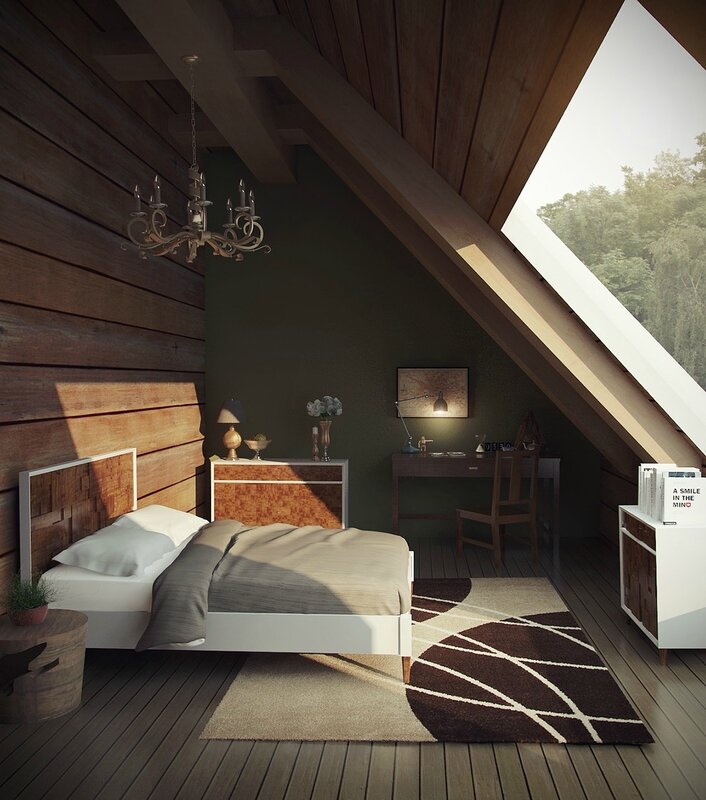 chandelier-bedrrom-attic-wooden-wall-green-wall