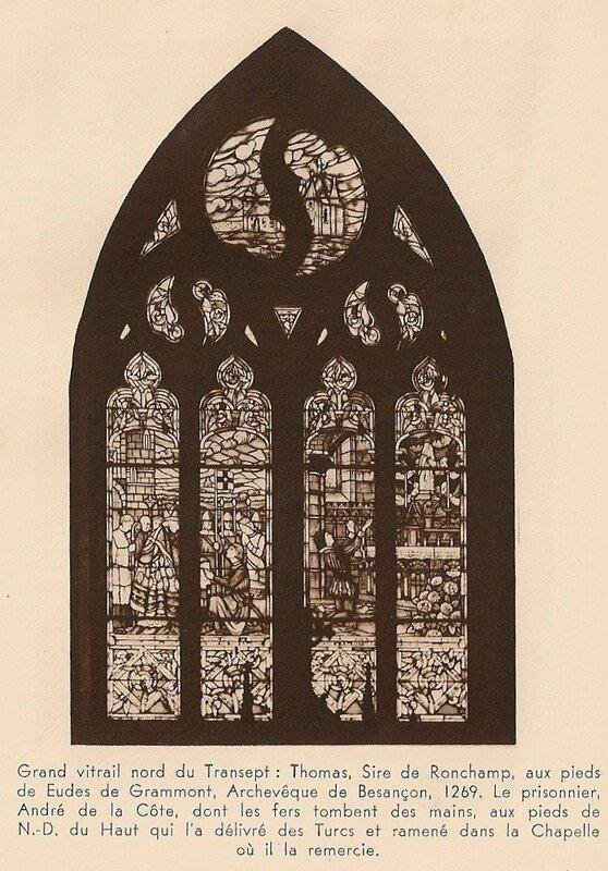 CPA Ronchamp Notre-Dame du Haut 1930 Transept Vitrail nord