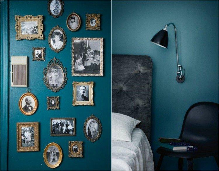 déco-murale-couleur-peinture-bleu-pétrole-cadres-photos-rétro