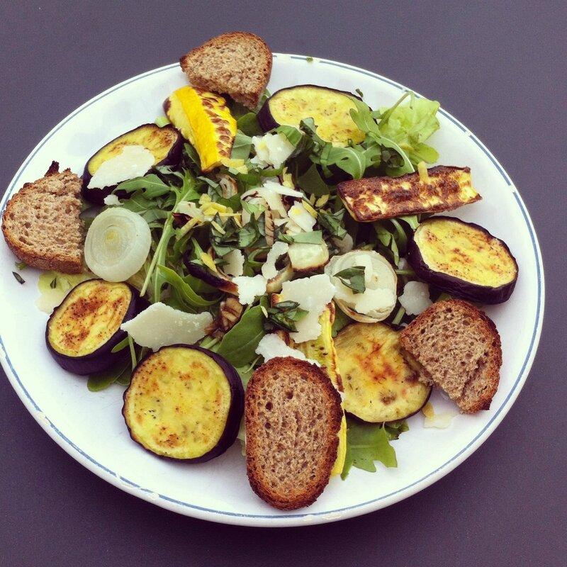 salade legumes pain croustillant