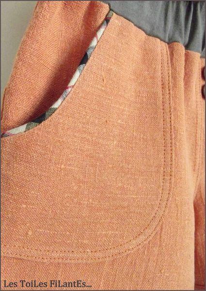 Pantacourt brique et tee-shirt plomb1