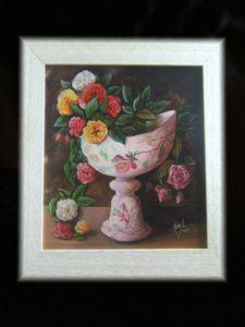 Vase Ecole de Nancy et fleurs
