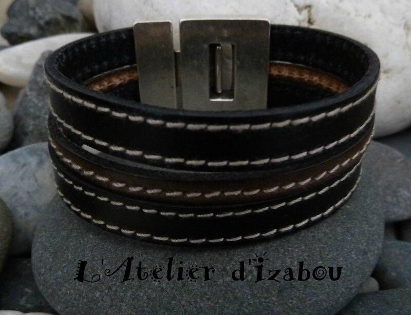 P1150642 Bracelet homme large cuir cousu noir, cuir cousu kaki et fermoir aimanté sécurisé