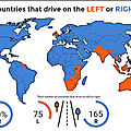 Left and right side driving countries map