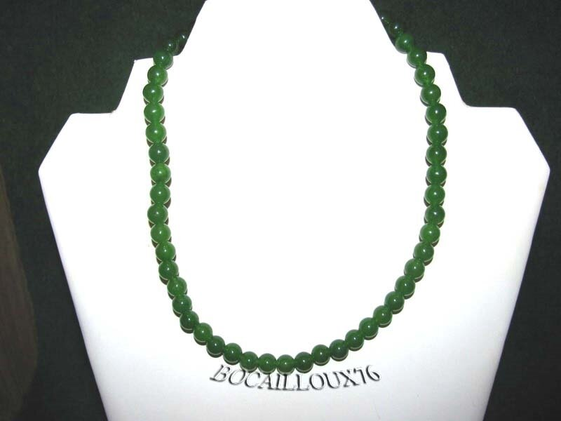 COLLIER JADE 2 PERLES 8mm - ATTACHE ARGENTEE