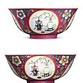A pair of fine ruby-groundfamille rosemedallion bowls, daoguang six-character seal marks in underglaze blue and of the period