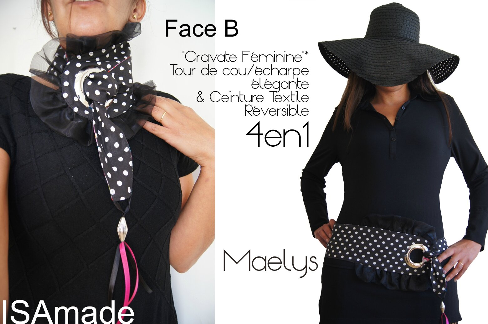 Cravate/ tour de Cou & Ceinture Reversible et transformable : Imprimé fleurs et pois noir/ blanc volant organza noir