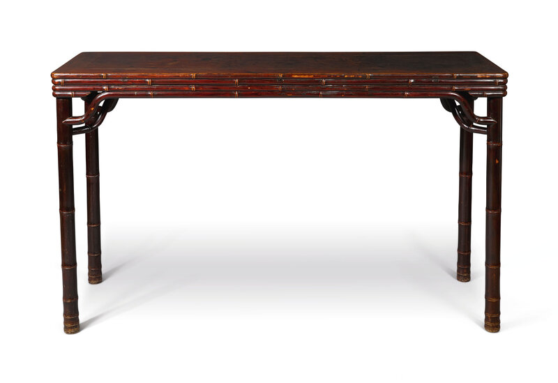 A lacquered elm wood 'bamboo' table, Qing dynasty, 19th century