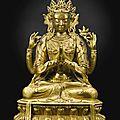 A gilt-bronze figure of a sadaksari avalokiteshvara, qing dynasty, kangxi period (1662-1722)