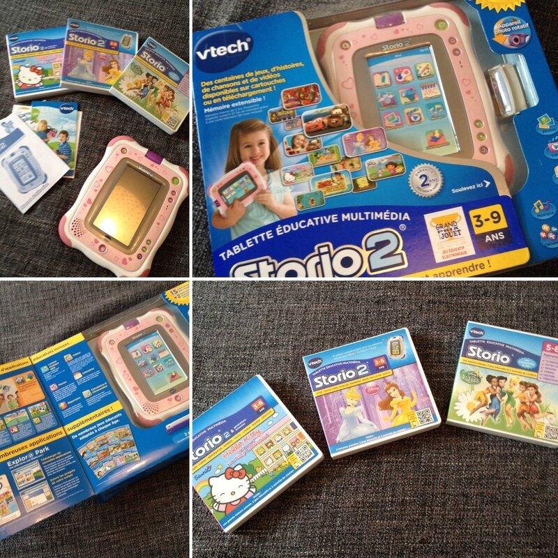 STORIO 2 de VTECH complète dans sa boite (stylet, chargeur, câble USB, kit de démarrage) avec 3 jeux (Hello kitty-Disney princesses-La fée clochette) 70€