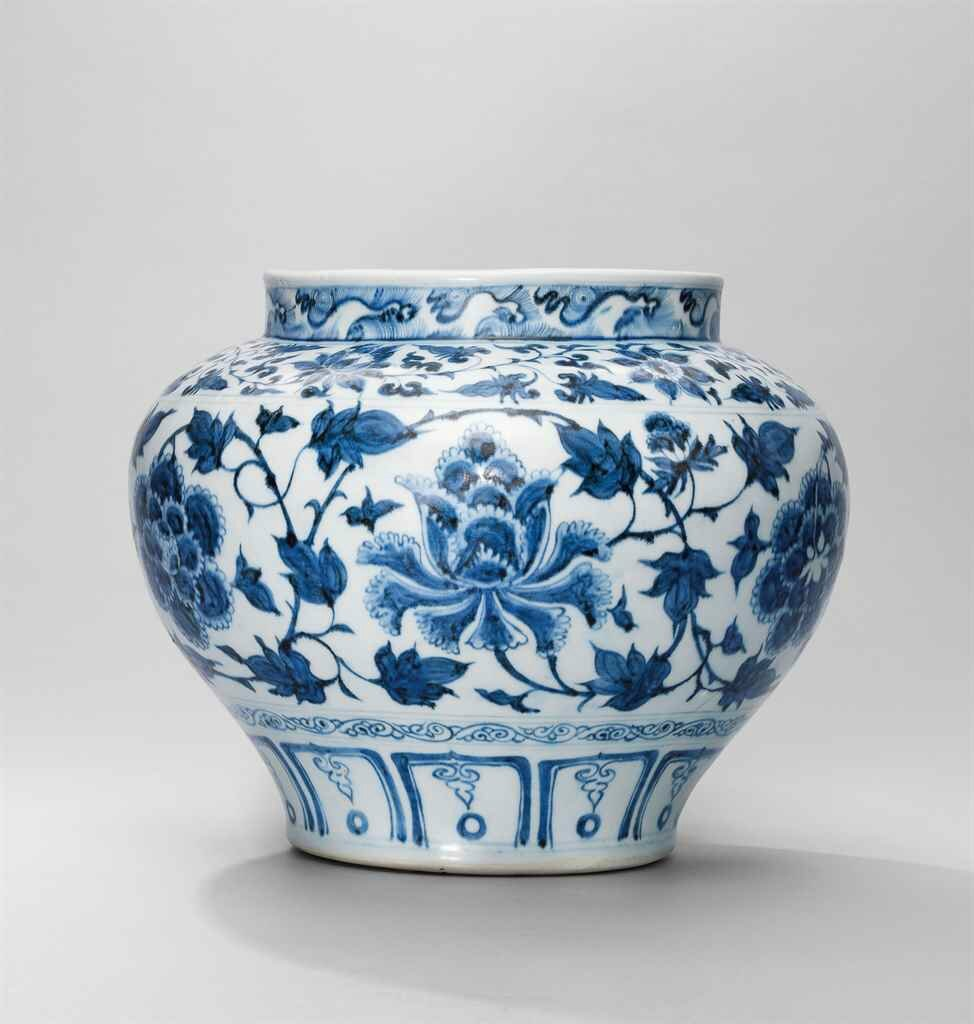 A very rare blue and white 'peony' jar, Yuan dynasty (1279-1368)