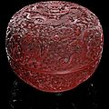 A finely carved 'nine dragon' cinnabar lacquer box and cover, china, qianlong period
