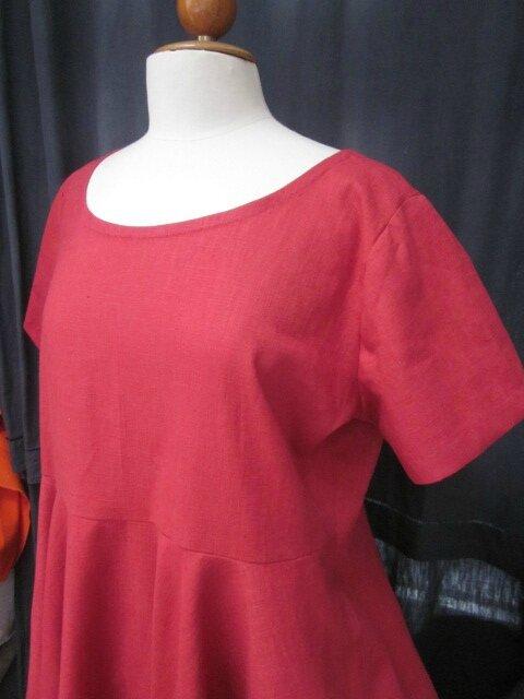 Robe EULALIE en lin rouge (1)