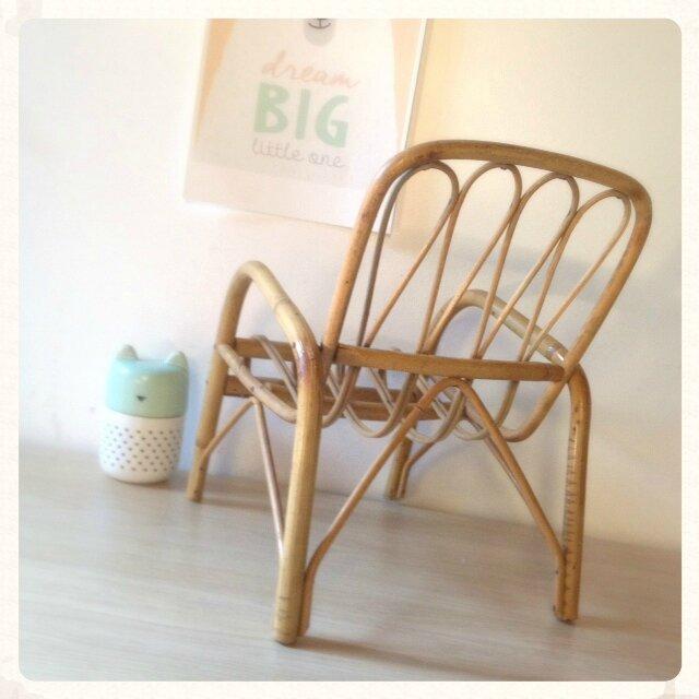 Fauteuil chaise rotin osier enfant bébé poupée décoration jeux jouet 03